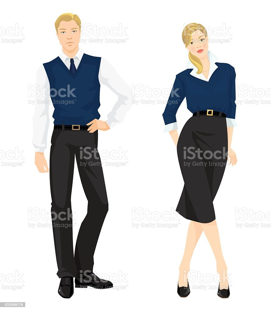Man and girl in formal clothes vector art illustration