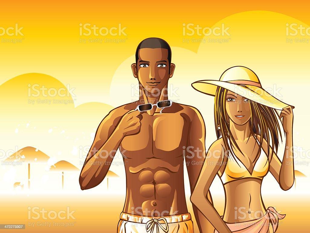 Man and Girl on Summer Beach royalty-free stock vector art