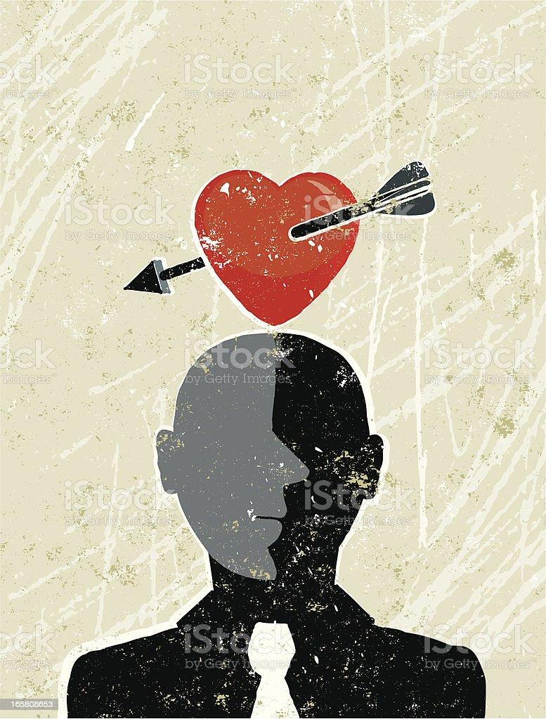 Man and Heart vector art illustration