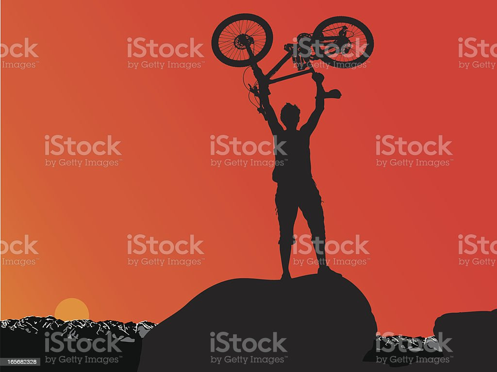 Man and his bike vector art illustration