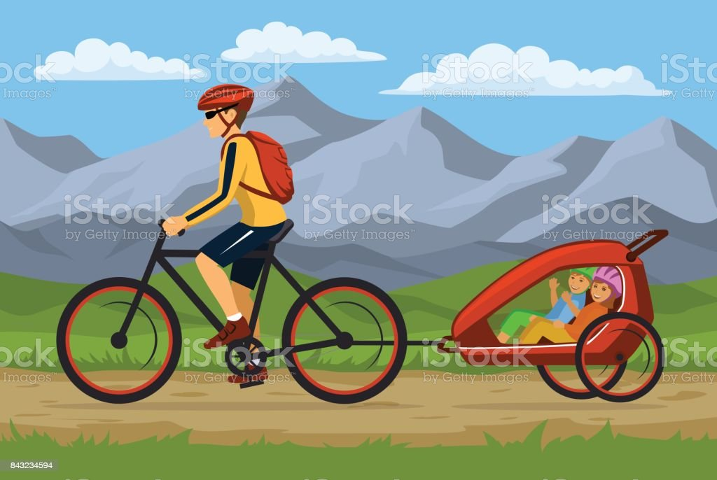 Man and his children traveling cycling together. Father tows bike trolley with kids vector art illustration