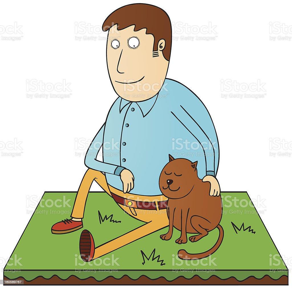 man and his pet royalty-free stock vector art