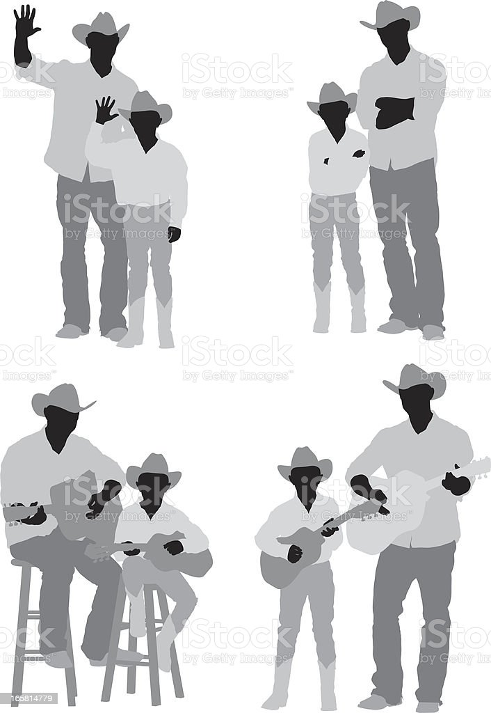 Man and his son dressed as cowboys royalty-free stock vector art