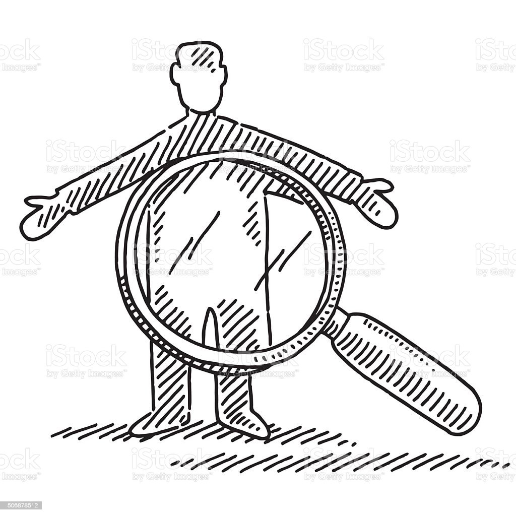 Man And Loupe Symbol For Security Check Drawing vector art illustration