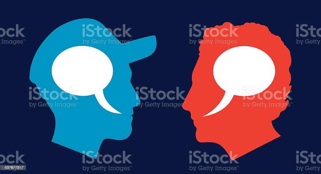 Man and Man Profile Speech Bubbles vector art illustration
