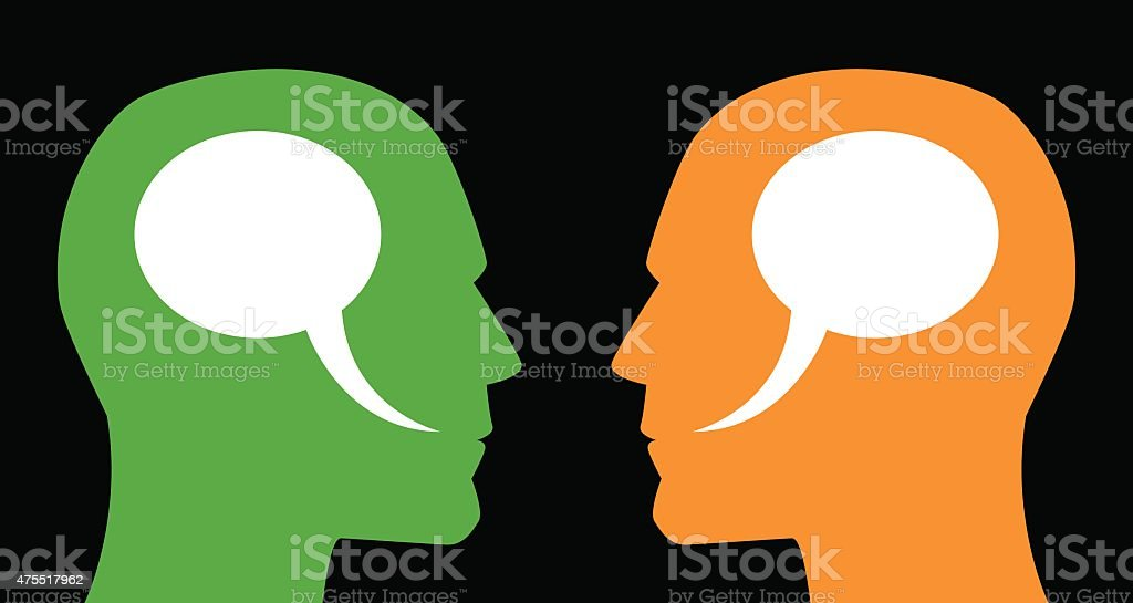 Man and Man Speech Bubbles vector art illustration