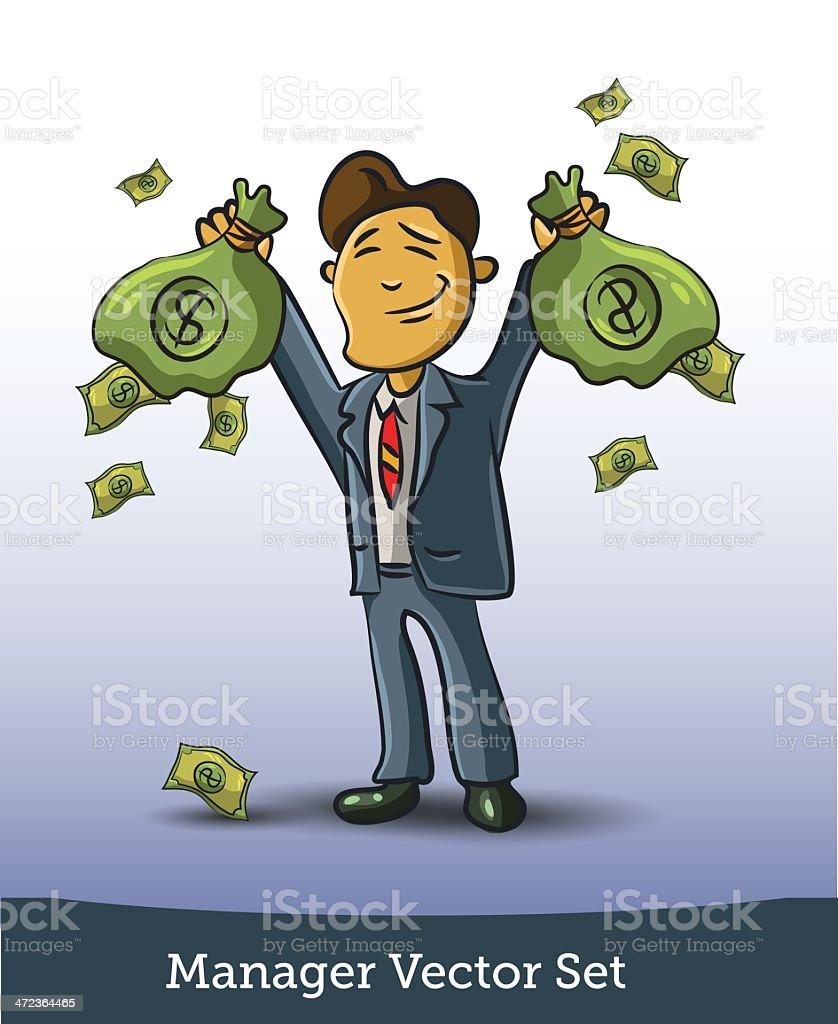 Man and money vector art illustration