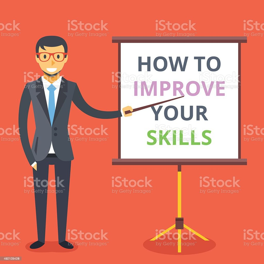 Man and presentation board: how to improve your skills vector art illustration