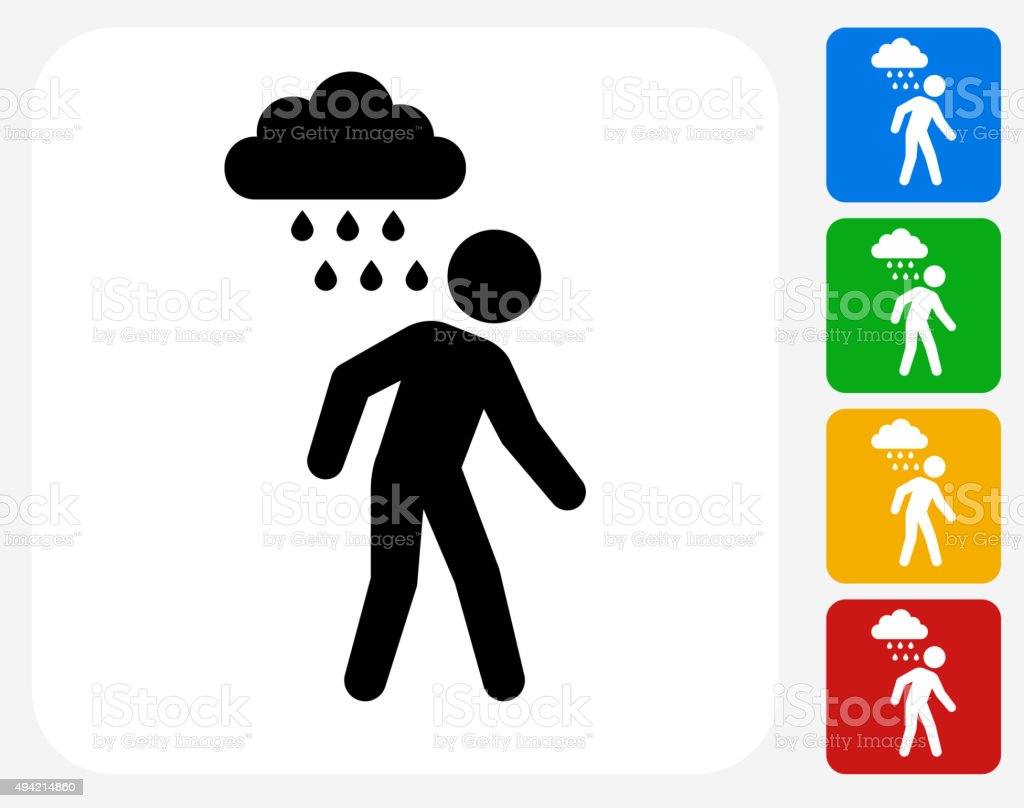 Man and Sad Rain Cloud Icon Flat Graphic Design vector art illustration