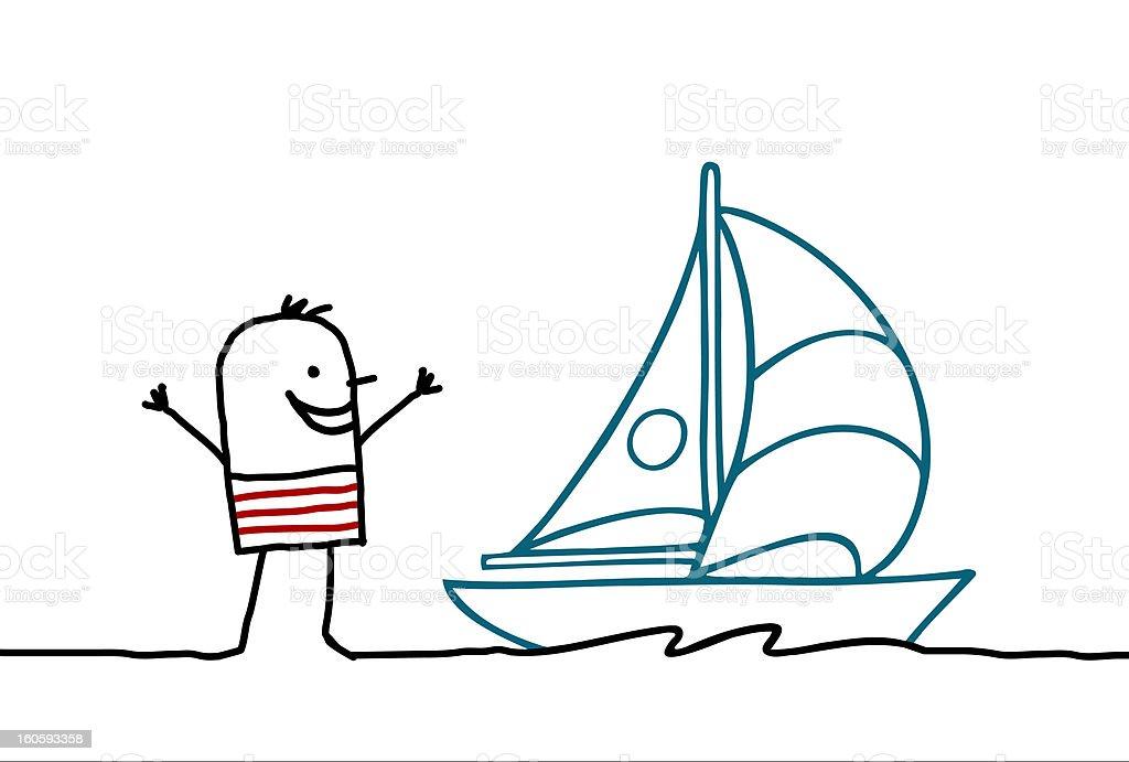 man and sailing boat royalty-free stock photo