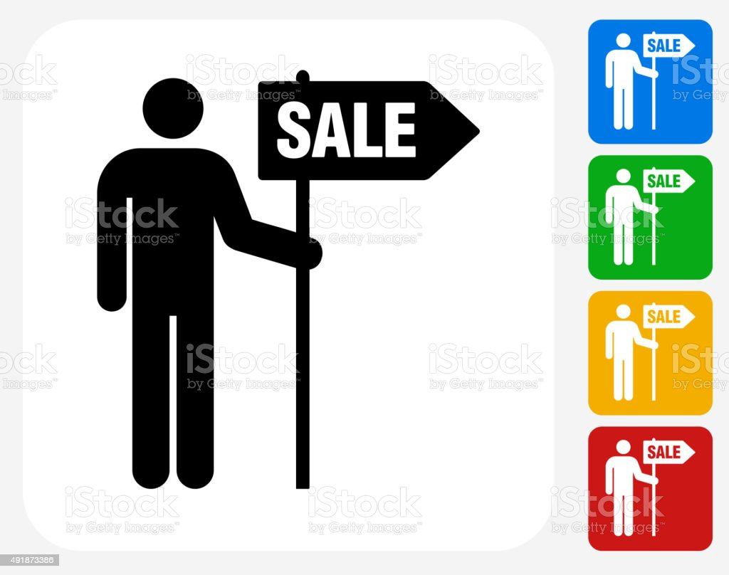 Man and Sale Sign Icon Flat Graphic Design vector art illustration