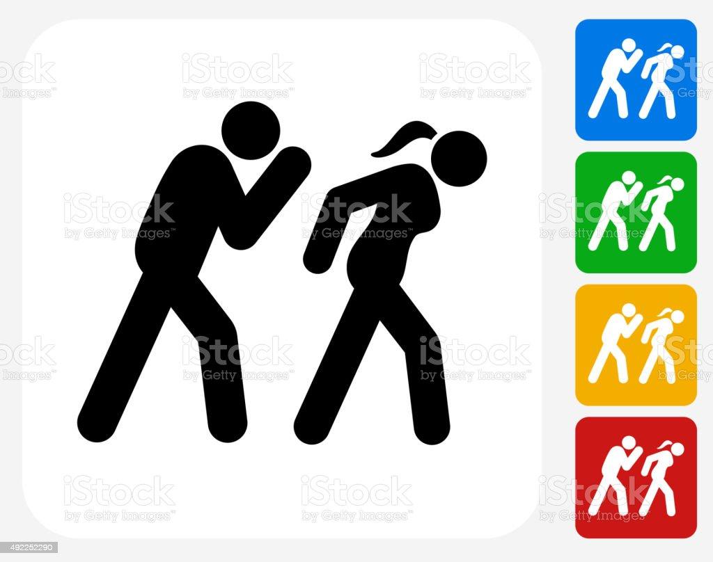 Man and Walking Icon Flat Graphic Design vector art illustration