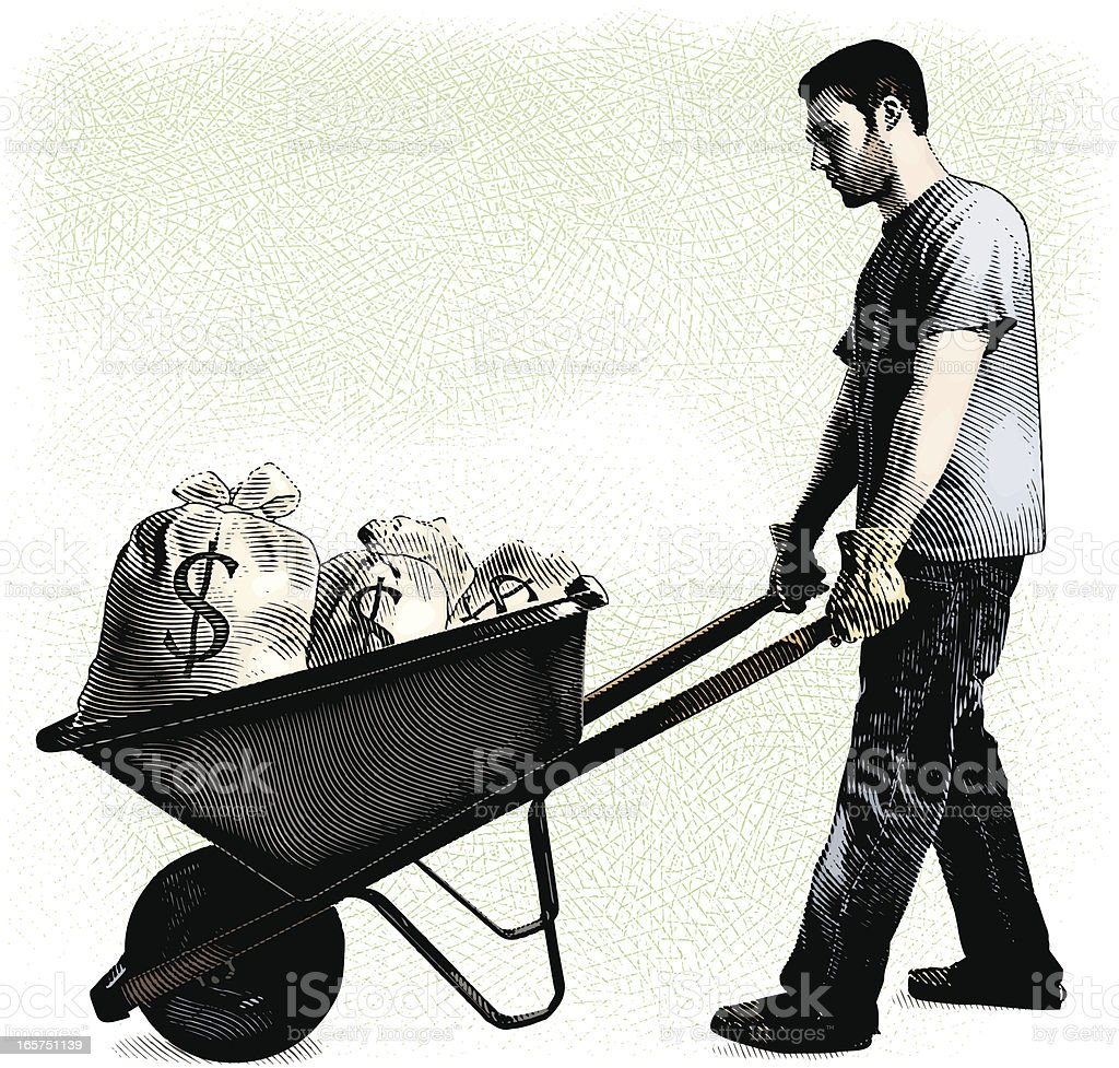Man And Wheelbarrow Filled With Money Bags royalty-free stock vector art