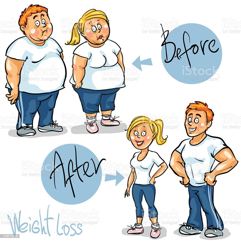 Man and Woman achieving their Weight-Loss goal vector art illustration