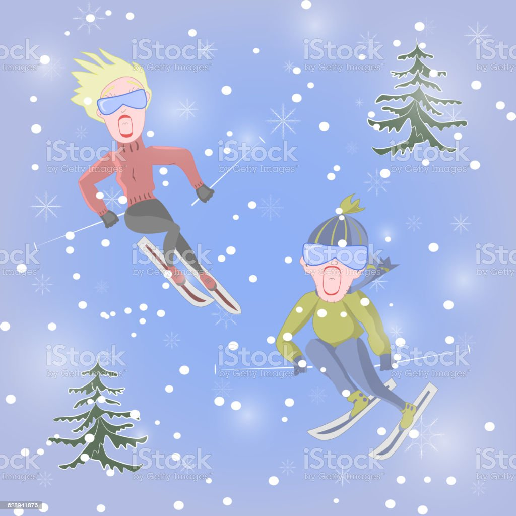 Man and woman are skiing vector art illustration