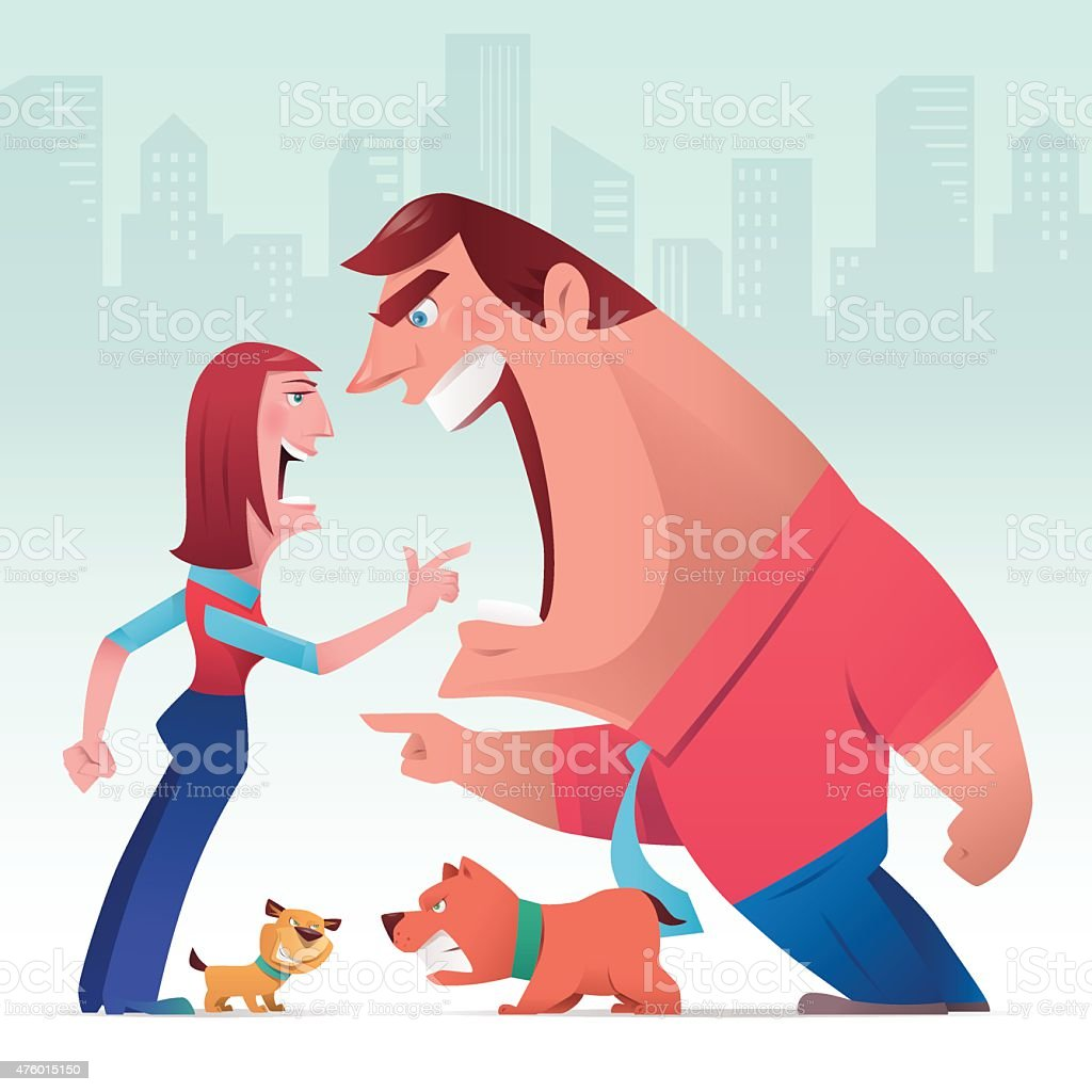 man and woman arguing with dogs vector art illustration