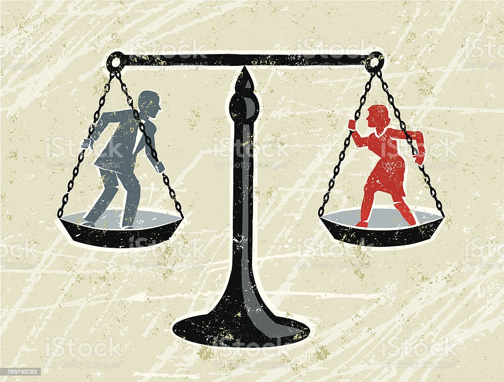 Man and Woman Being Weighed on Scales royalty-free stock vector art