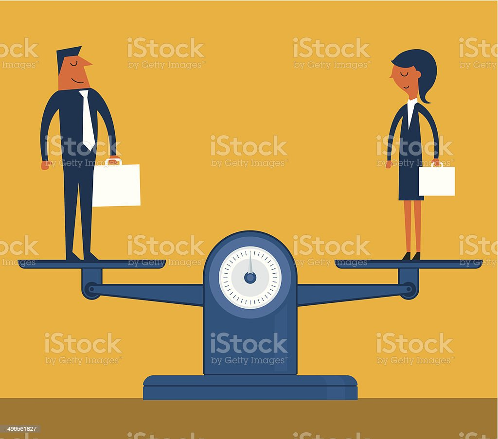 Man and Woman Being Weighed on Scales vector art illustration