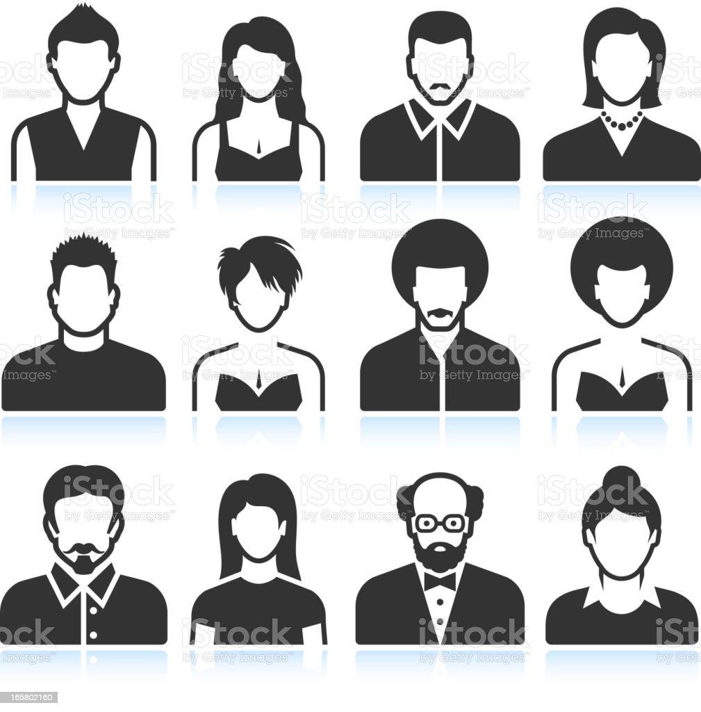 Man and Woman black & white vector icon set vector art illustration