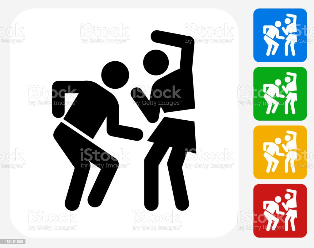 Man and Woman Dancing Icon Flat Graphic Design vector art illustration