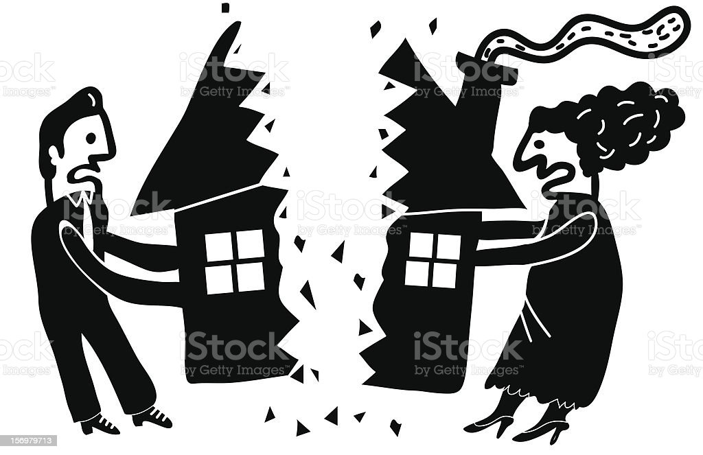 man and woman divide their house vector art illustration