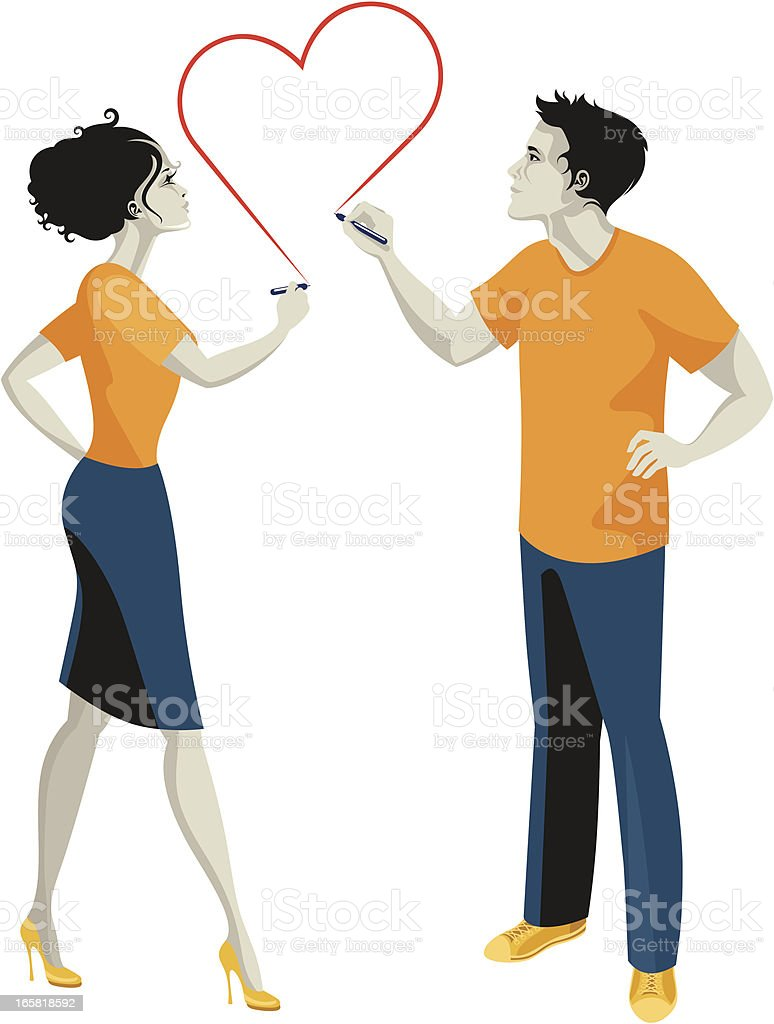 Man and woman drawing their love. royalty-free stock vector art