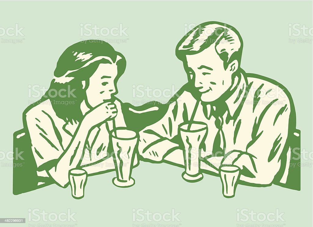 Man and Woman Drinking Malts vector art illustration