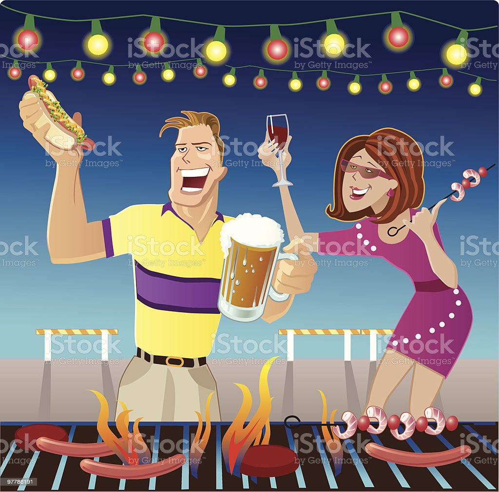 Man and Woman Eating at Barbeque Block Party royalty-free stock vector art