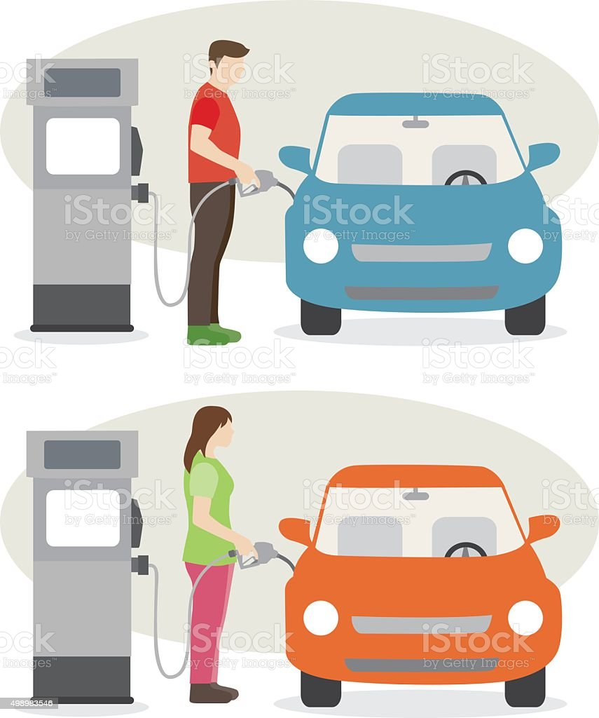 man and woman fill up fuel at the gas station vector art illustration