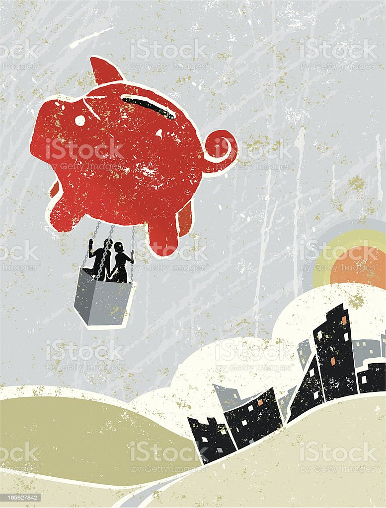 Man and Woman Flying in Piggy Bank Hot Air Balloon royalty-free stock vector art