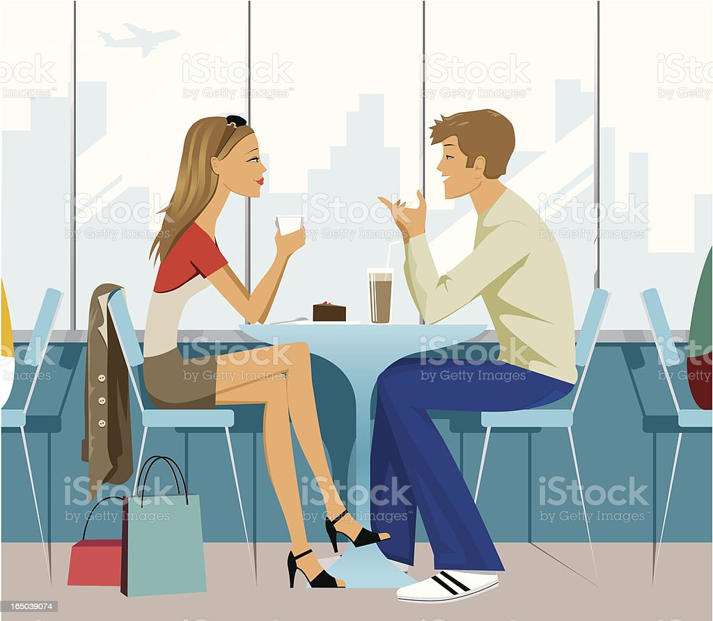 Man and Woman Having Coffee royalty-free stock vector art