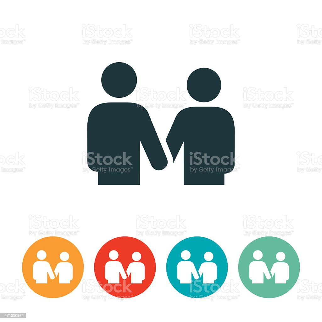 Man and Woman Holding Hands Icon vector art illustration