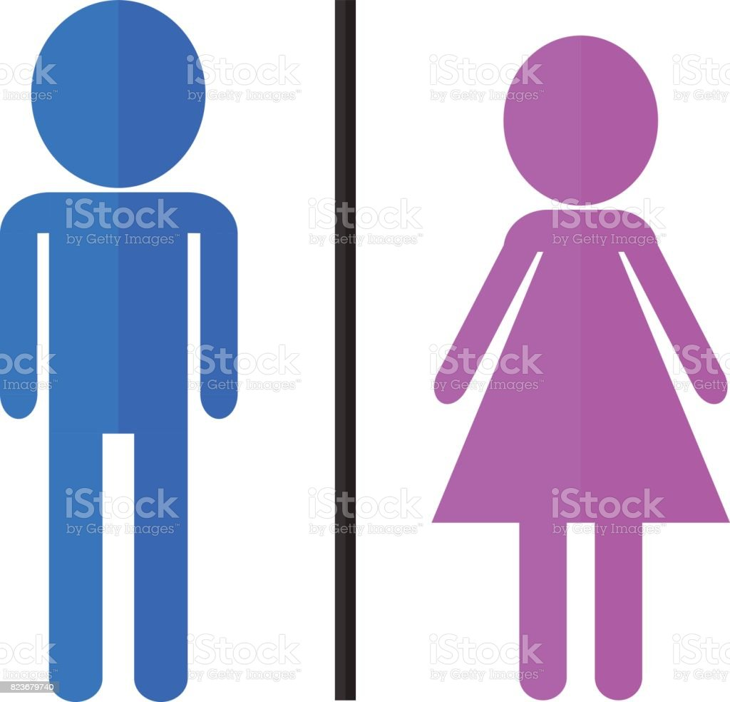 man and woman icons for toilet restroom bathroom staff couple vector symbol vector art illustration