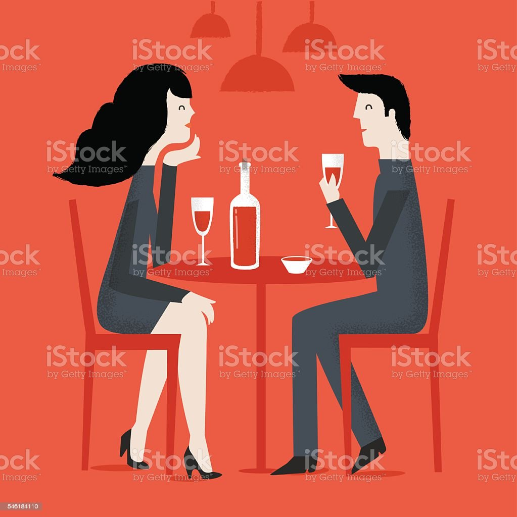 Man and woman in a restaurant. vector art illustration
