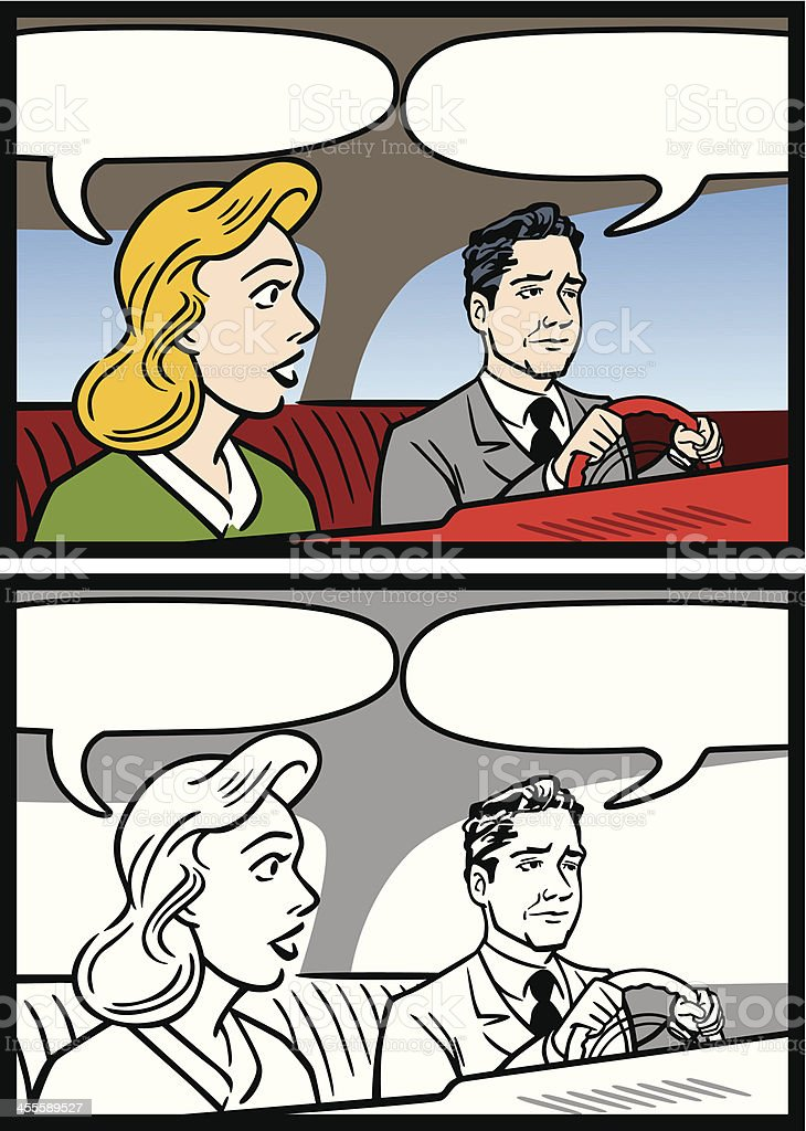 Man And Woman In Car Talking royalty-free stock vector art