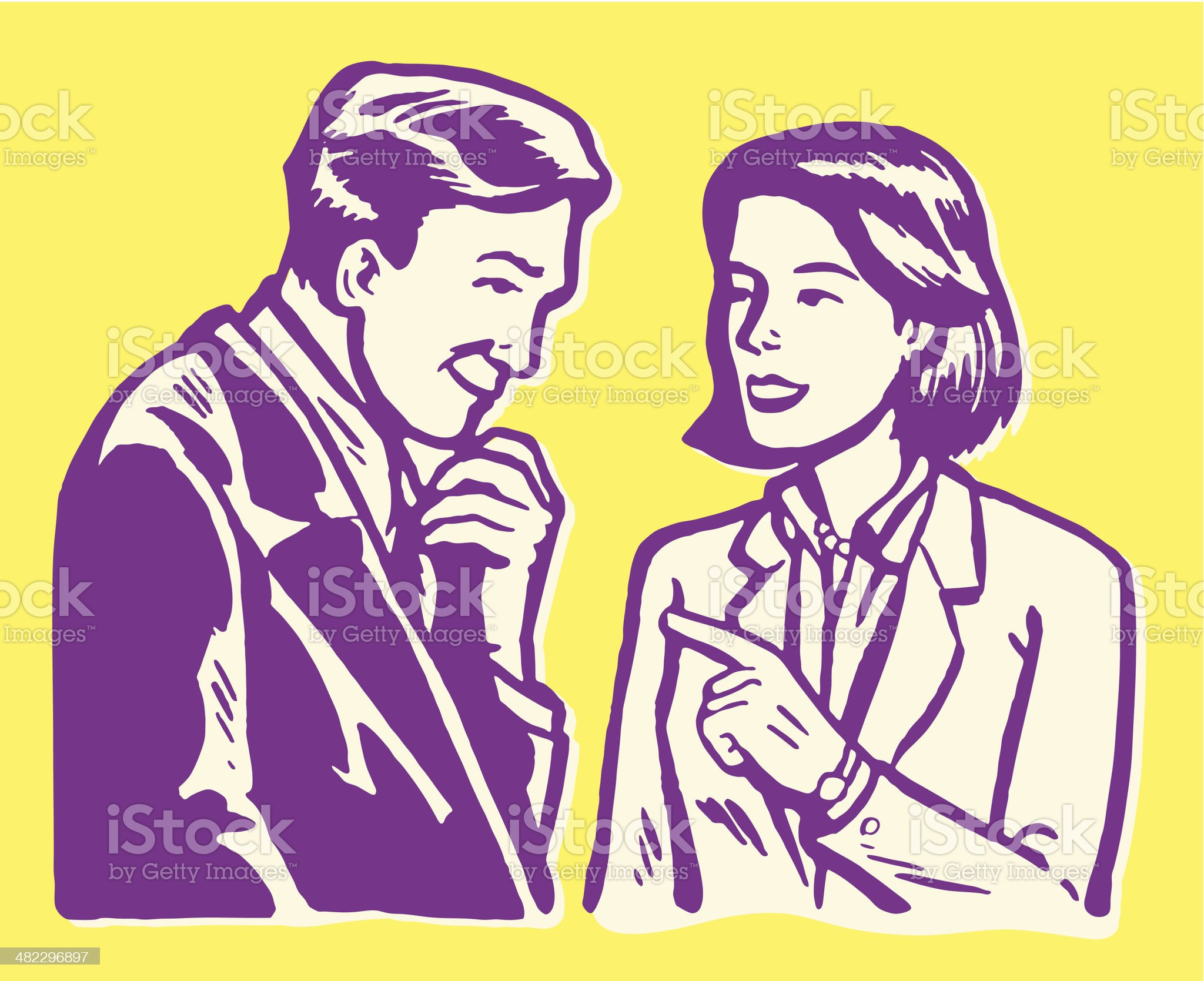 Man and Woman in Conversation royalty-free stock vector art