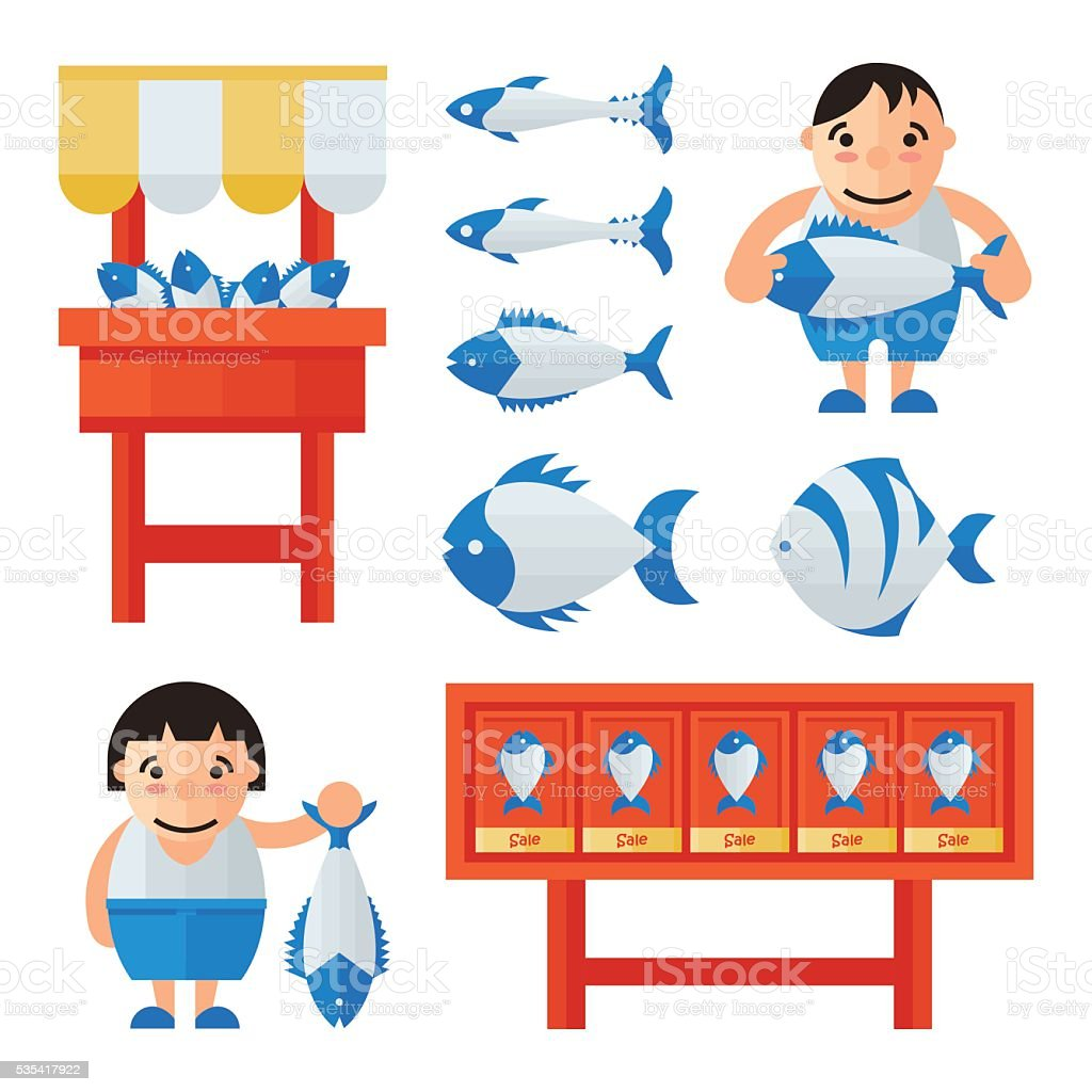 Man And woman in Fish Market infographic vector art illustration