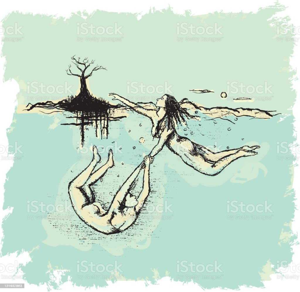 Man and woman in water vector art illustration