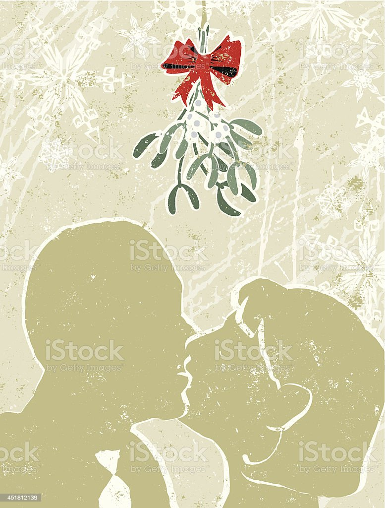 Man and Woman Kissing Under The Mistletoe royalty-free stock vector art