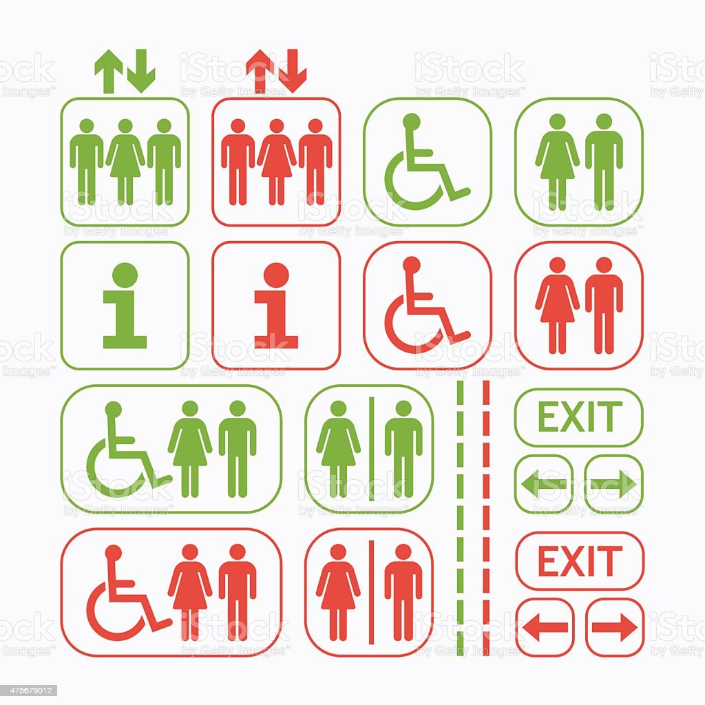 Man and Woman line public access icons set vector art illustration