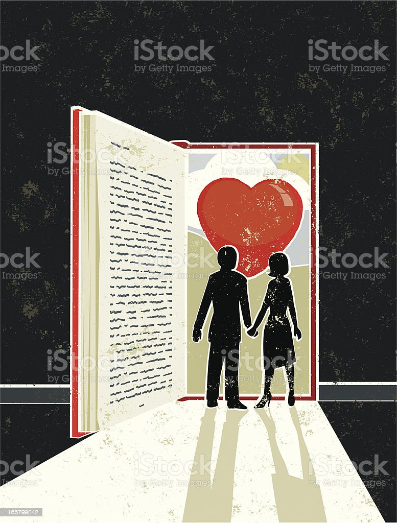 Man and Woman looking at a Love Story Book royalty-free stock vector art