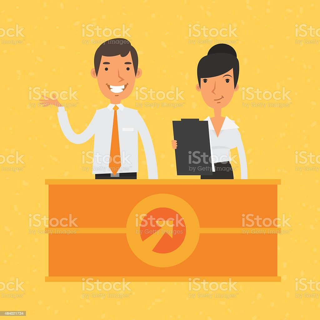 Man and woman manager and reception vector art illustration