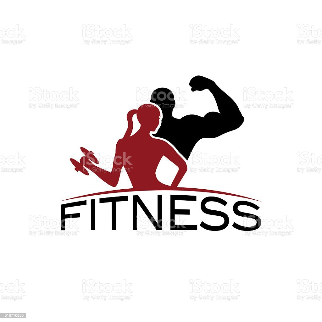man and woman of fitness silhouette character vector vector art illustration