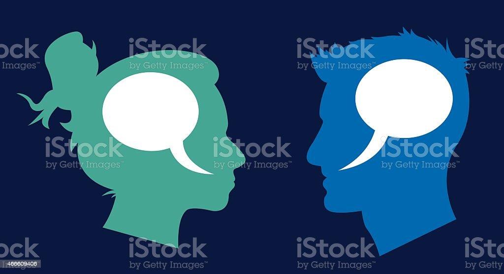 Man and Woman Profile Speech Bubbles vector art illustration