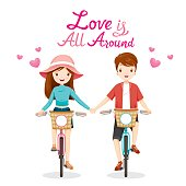 Man And Woman Riding Bicycle, Clasping Hands