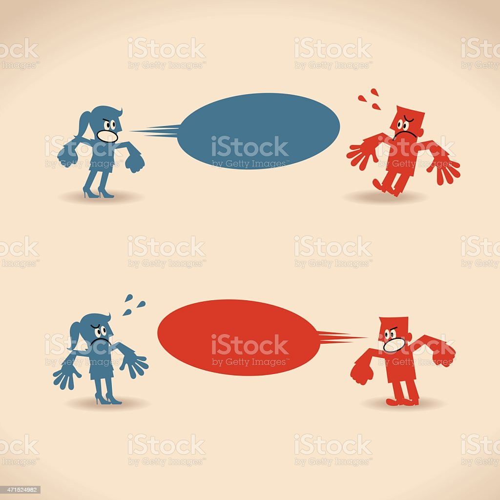 Man and woman scolding one another vector art illustration