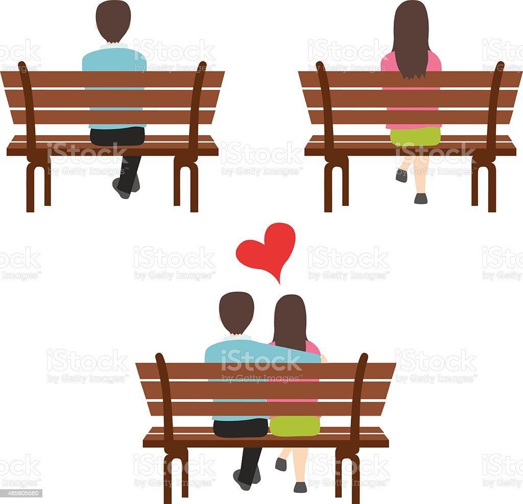 man and woman sitting in the park back view vector art illustration