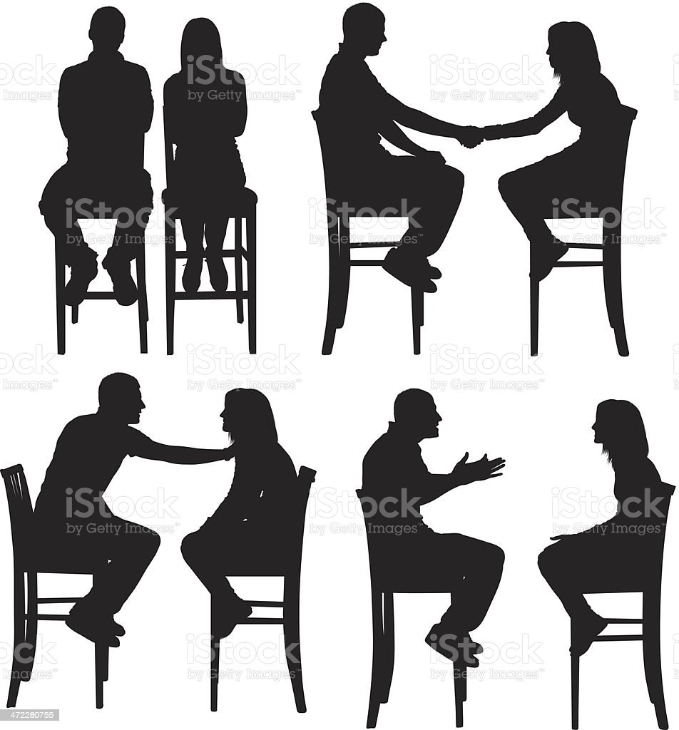 Man and woman sitting on tall chairs vector art illustration