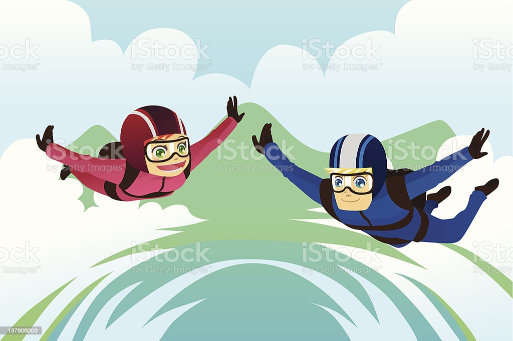 A man and woman skydiving together vector art illustration
