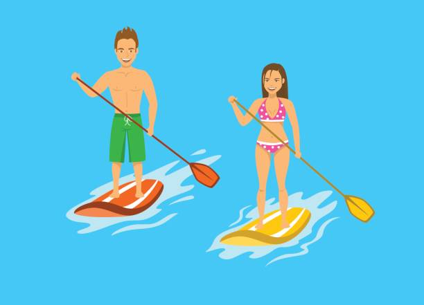 Man And Woman Srand Up Paddling Paddleboarding On Water Sea Vector Art Illustration